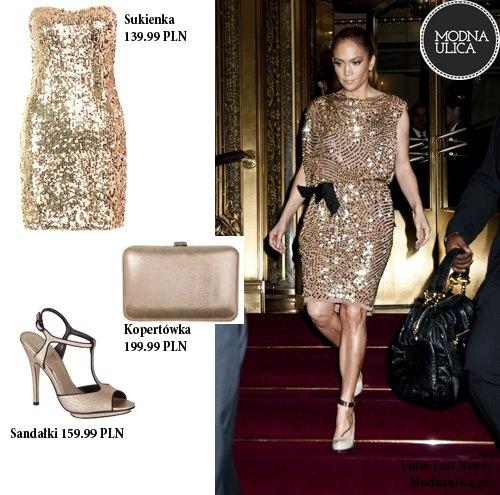 J.Lo prezentuje - idealna kreacja na imprezę do białego rana: złota sukienka, eleganckie sandałki w tym samym kolorze i stylowa kopertówka na niezbędne drobiazgi. Ładna?