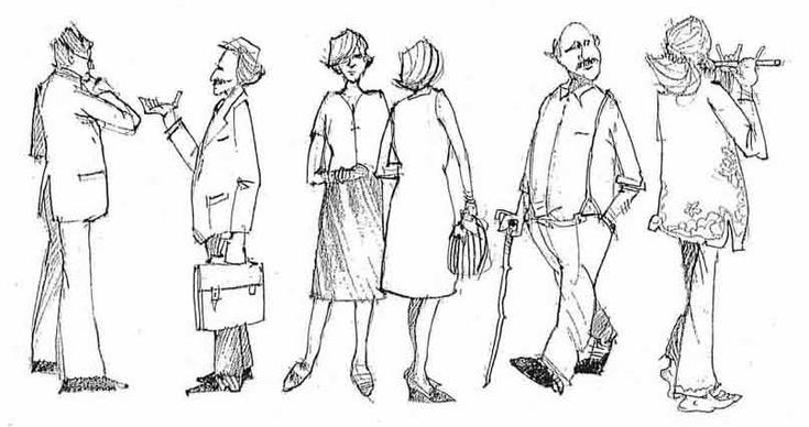 figures in pencil and pen drawings