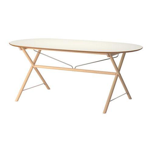 IKEA - SLÄHULT, Tafel, Dalshult berken, , Het tafelblad van melamine is vocht- en krasbestendig, en is makkelijk schoon te houden.Het tafelblad heeft voorgeboorde gaten voor het onderstel om de montage te vereenvoudigen.