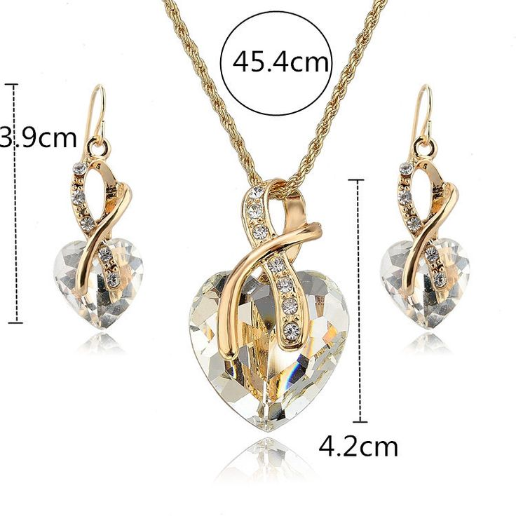 Gold Plated Clear Crystal Heart Jewelry Set For Women Price:$24.00 Retail Price: $49.95 You Save: $25.95 (52%) http://www.tripleclicks.com/15109879.1234/detail.php?item=399997