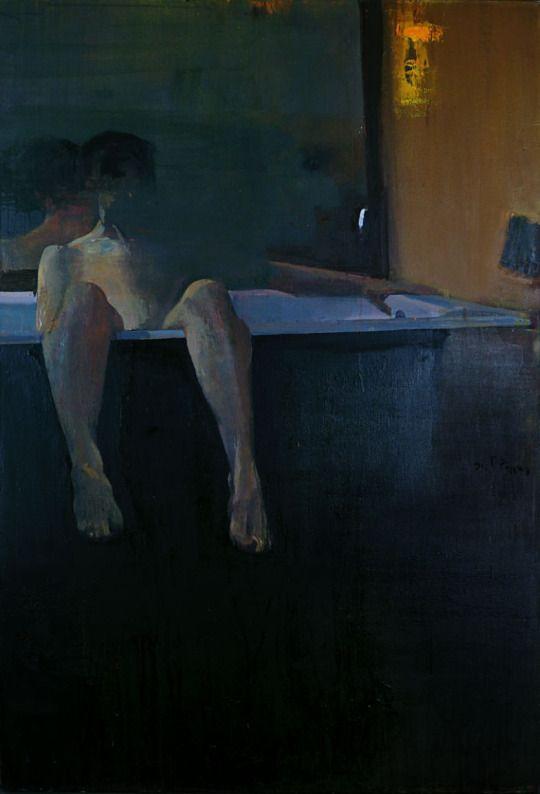 Giorgos Rorris aka Γιώργος Ρόρρης (Greek, b. 1963, Kosmas, Arkadia Kynourias, Greece) - Difficult Pose, 1991  Paintings: Oil on Canvas