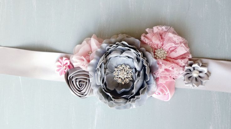 Posie's Pretties. Silk Flower sash, maternity sash, dressup sash, hair sash, baby photo prop. Pink and Gray by PosieMeadows on Etsy