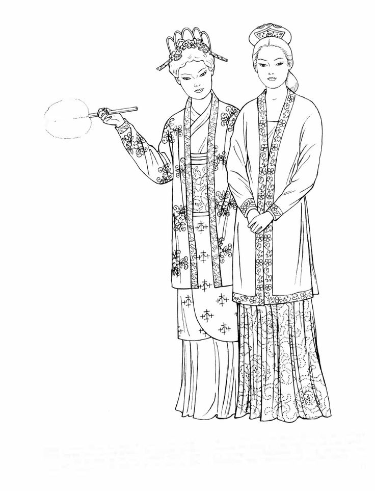 Song Dynasty. These upper-class women wear closely fitted jackets with narrow sleeves. The short wrap skirt worn by the woman on the left is paired with a long skirt. The woman on the right displays a low neckline under her jacket. Embroidered bands of floral designs decorate the front, sleeves, and hems of both jackets. The woman's embroidered silk hair ornaments are embellished with jewels and gold or silver details. [Chinese Fashions (Dover Fashion Coloring Book) by Ming-Ju Sun.]