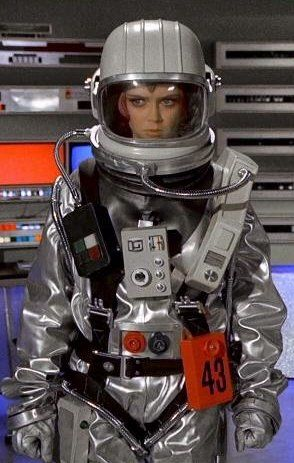 "Gay Ellis (Gabrielle Drake) suited up in Moonbase in the 1970 UFO episode ""The Responsibility Seat"""