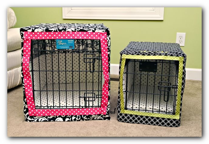 Simple, but adorable, dog crate covers!