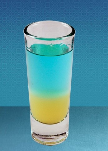 Tropical Azul 0.75 oz Tarantula 100 Plata tequila  0.25 oz Pina colada mix  0.25 oz Pineapple Juice  Shake above ingredients with ice and strain into a shot glass  0.75 oz Float of Tarantula Azul   Add float of Tarantula azul on top