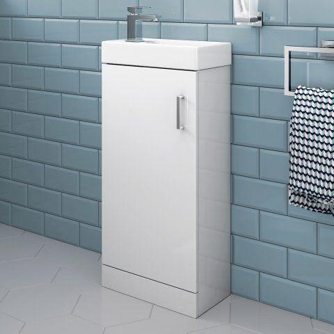 Portland Gloss White Slimline Basin Unit - Floor Standing
