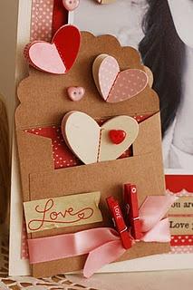 Sewn hearts in mini envelope--so cute!