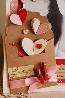 lovely for a scrapbook page!Cards Ideas, Envelopes, Valentine Day Cards, Valentine Cards, Scrapbook Layout, Scrapbook Pages, Paper Crafts, Clothespins, Heart Cards