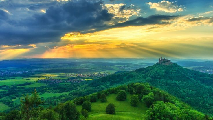 Burg Hohenzollern (Hohenzollern Castle), is the ancestral seat of the imperial House of Hohenzollern.[n 1] The third of three castles on the site, it is located atop Berg Hohenzollern, a 234 m (768 ft) bluff rising above the towns of Hechingen and Bisingen in the foothills of the Swabian Alps of central Baden-Württemberg, Germany