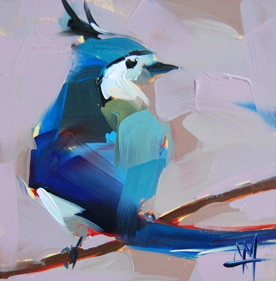 White Throated Magpie Jay original bird oil painting by Angela Moulton 6 x 6 inches prattcreekart