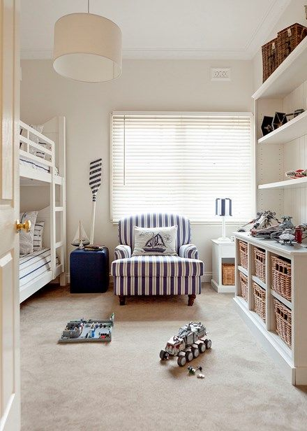 Home from the Hamptons - Children's room Double bunks make good use of space in the children's room, which was refreshed with wall paint in Dulux Whisper White and new wool carpet in a warming shade of taupe; find a range of soft and luxurious options from Cavalier Bremworth.