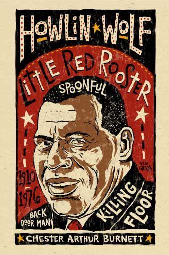"Howlin' Wolf poster print by Grego, blues folk art, 12"" x 18""."