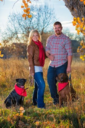 Brooke + Curtis and their two dogs, Beau and Paisley!  Great session with fall colors for their Christmas Cards | Denver Photographer RickLouieStudios.com