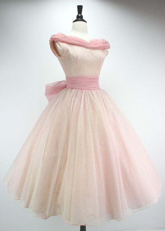 This would look cute on Emma! 50s Dress Vintage Party Prom Pink Eyelet Lace by swingkatsvintage
