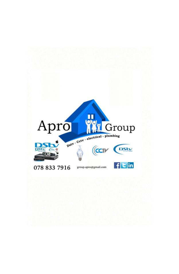 Apro group. For all your Dstv, audio/visual,electrical and plumbing needs.In and around Bloemfontein. Contact 078 833 7916