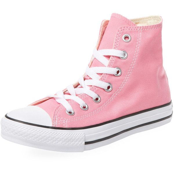 Converse Women's Chuck Taylor All Star Hi-Top - Pink - Size 4.5m/6.5w ($45) ❤ liked on Polyvore featuring shoes, sneakers, pink, high top trainers, platform shoes, pink sneakers, pink high tops and high top platform sneakers