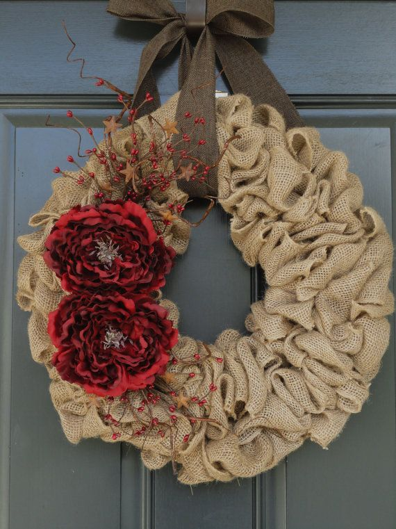 Rustic Holiday Burlap WreathHoliday Burlap by WhimsyChicDesigns, $65.00