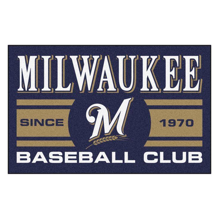 "MLB Milwaukee Brewers Baseball Club Starter Rug 19""x30"""