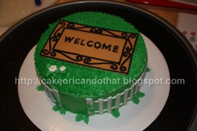 Welcome Mat: House Warming Cake  I sort of borrowed this for my housewarming party cake too, I hope it  tastes good