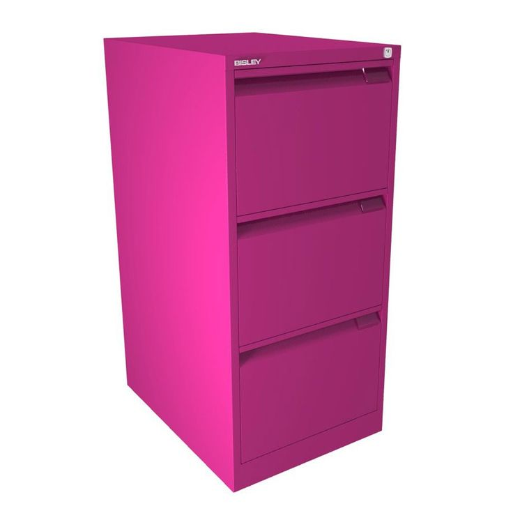 bisley filing cabinet 3 drawer fuchsia bs series flush front