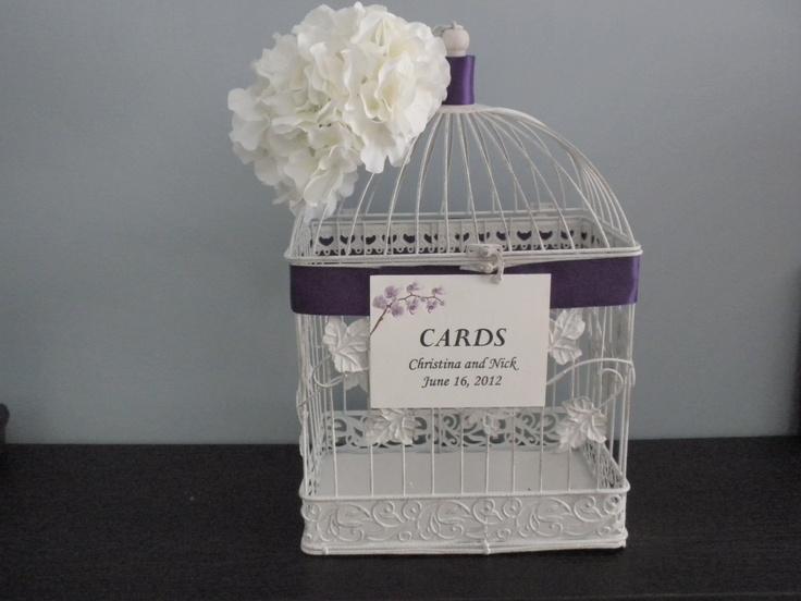 Large Wedding Birdcage Card Holder -Beautiful White Antique Vintage Birdcage Card Holder. $60.00, via Etsy.