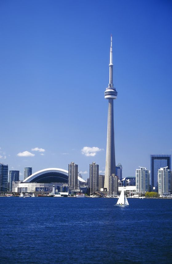 CN Tower and Lake Ontario harbourfront, Toronto, Canada- I've been inside that thing, all the way to the top !!!!