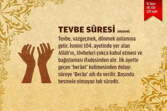 Tevbe Suresi  Kuranı Kerim'in 9.suresi olan Tevbe Suresi (Besmele ile başlamayan tek suredir) Arapça  - Türkçe sesli ve yazılı.  DEVAMI: http://www.nasihatler.com/sesli-kuran-i-kerim/tevbe-suresi.html