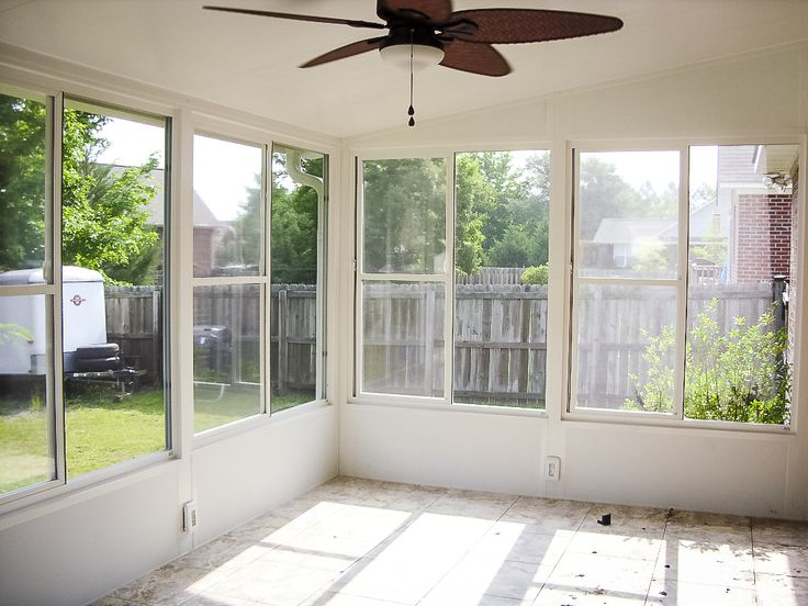 Eze Breeze Horizontal Slider White Frame Clear Vinyl Inside View With Knee Wall Products I
