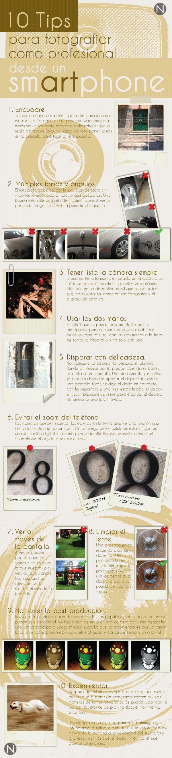10 consejos para hacer fotografías con tu teléfono. #infografia #infographic #design