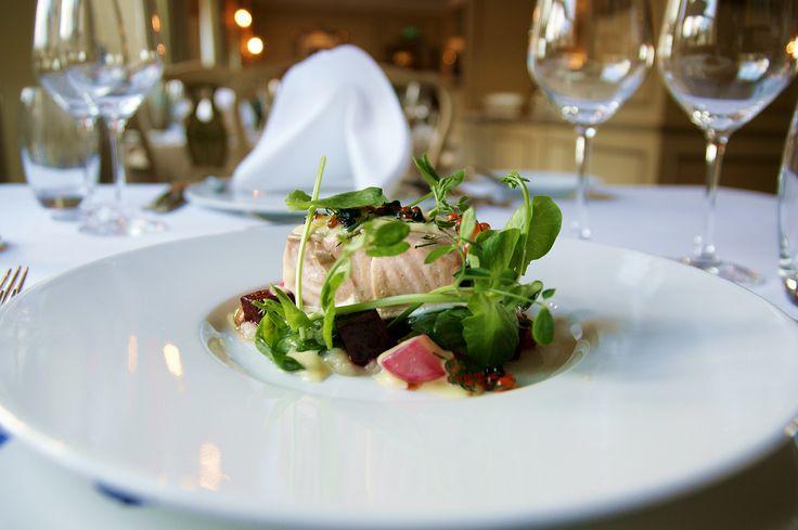 Norwegian salmon, Dinner, food art, organic food, allergy friendly, healthy food, hotel living, hotel dinner. Hotel Refsnes Gods.