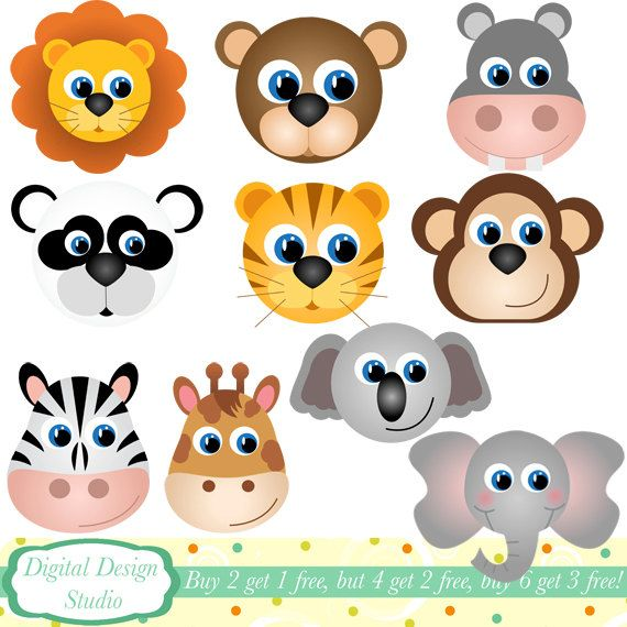 Animal Faces clip art set, 10 designs. INSTANT DOWNLOAD for Personal and commercial use.