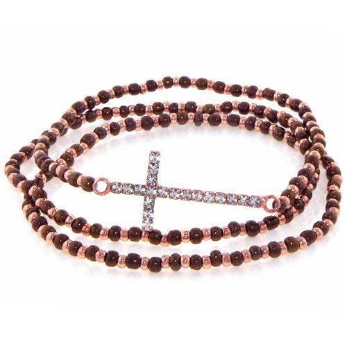 "Heirloom Finds Sideways Crystal Cross Three Strand Seed Bead Bracelet Set in Rose Gold and Chocolate Heirloom Finds. $14.99. Bracelets measures 7"" but will stretch to fit most wrists. Trendy Sideways Cross bracelet can be worn alone or with the two matching seed bead bracelets. Makes great stocking stuffers!. Three (3) strand bracelet set. Arrives Gift Boxed!. Save 48%!"