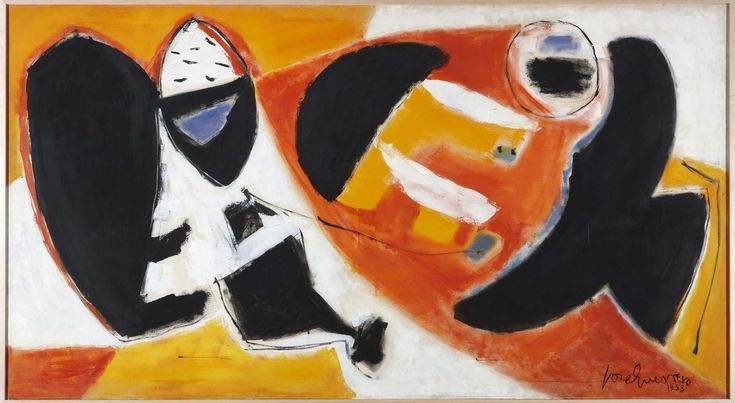 Black Cries (Llantos negros). José Guerrero. 1953. Óleo sobre lienzo. 135,5 x 238 cm. Depósito de los herederos de Lisa Guerrero