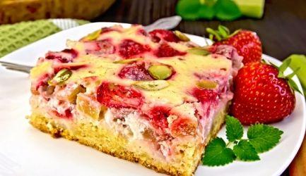 Rabarber-aardbeien Cheesecake