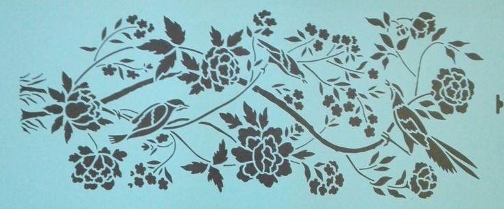 Bloemen vogel muursjabloon