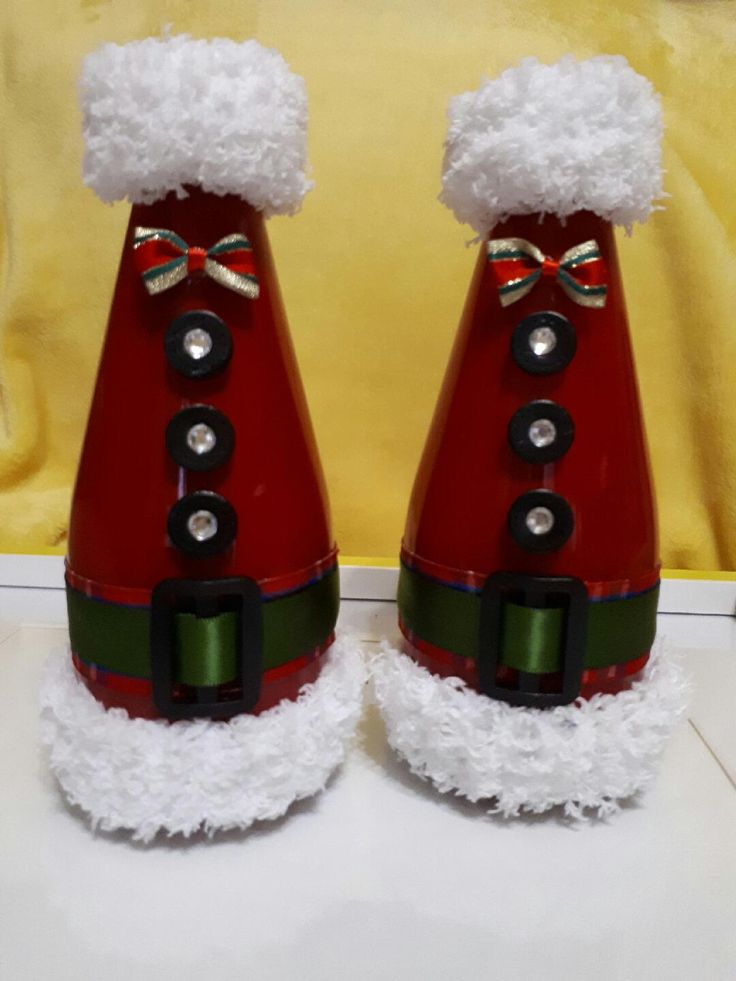 Santa's little helpers - painted and decorated glass bottles