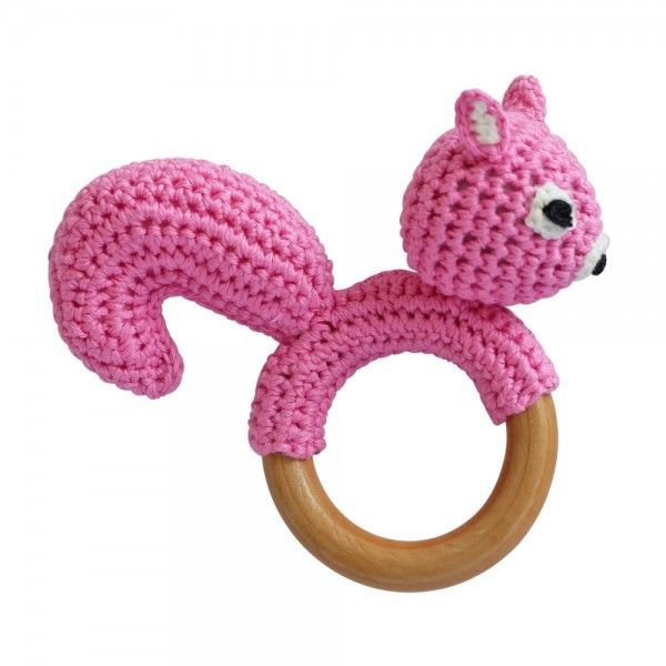 Sindibaba Childs Baby Teething Ring Rattle Handmade Crocheted Squirrel Pink New