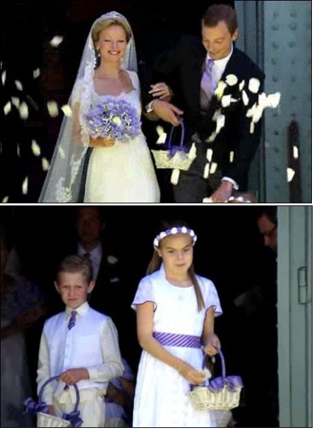 Koninklijke bruidskinderen. Bruiloft, huwelijk, trouwen, bruidskinderen, bruidsmeisje, bruidsjonker.