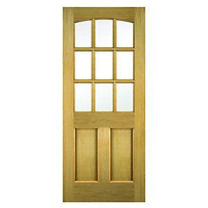 Wickes Georgia External Oak Veneer Door Glazed 2 Panel 1981x762mm
