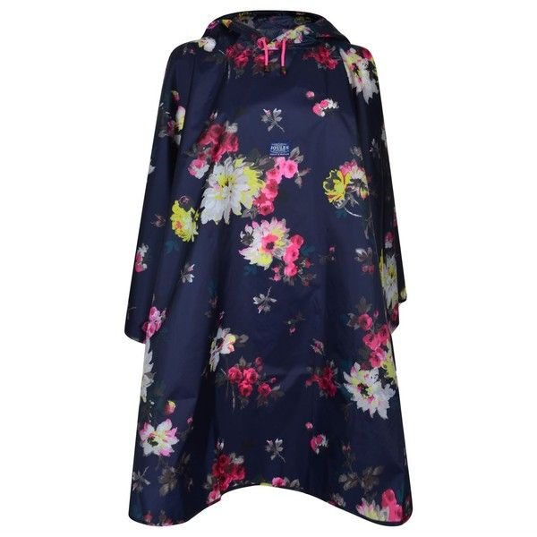 JOULES Pouch Floral Rain Mac ($32) ❤ liked on Polyvore featuring outerwear, coats, blue coat, joules coats, floral coat, floral print coat and lightweight coat