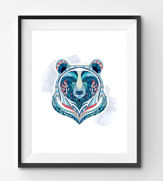 Colorful Bear Art Bear Wall Art Mosaic Bear Print Animal