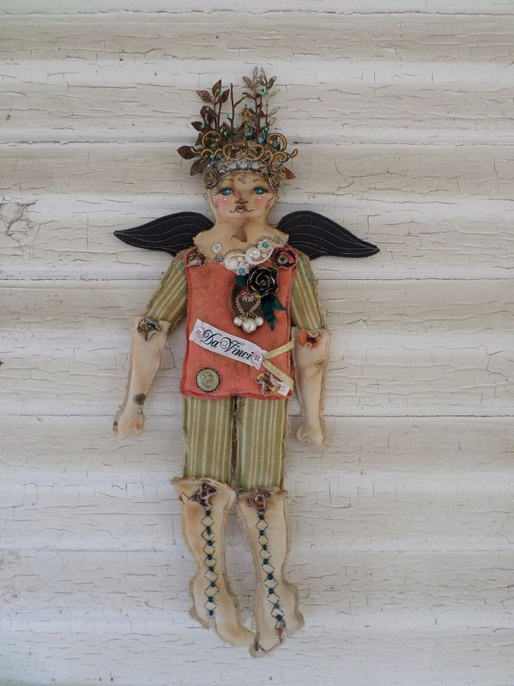 OOAK Flat Art Doll - Garden Angel Wall Art Décor - Flat Like Paper Dolls - Paulas Doll House - Paula McGee by paulasdollhouse on Etsy