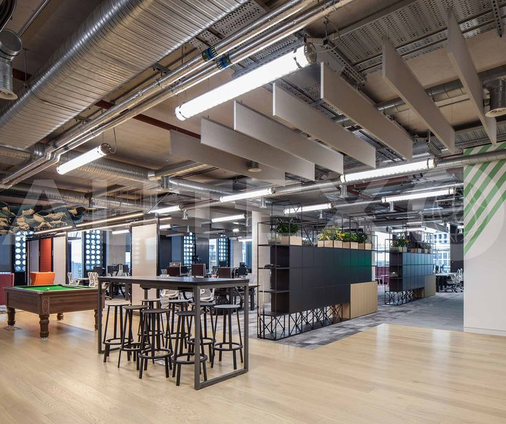 Autex Interior Acoustics - Quietspace® Frontier™ - Design: Tundra - Colour: Savoye - Adobe Head Office, London, UK - Suspended from Ceiling
