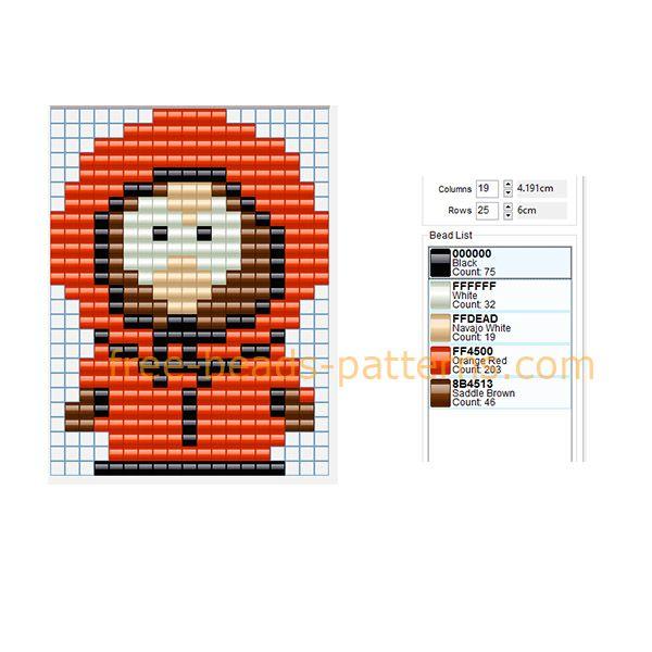 Kenny South Park cartoon character free perler beads pattern Hama Beads Pyssla