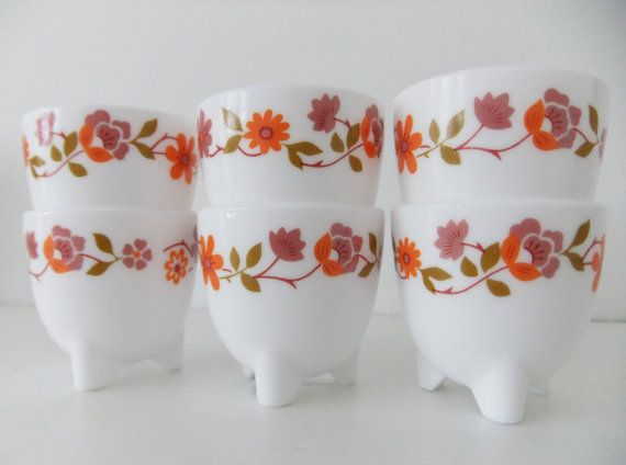Retro Arcopal egg cups - white with orange/coral and dusky pink flowers #etsy #vintage #arcopal