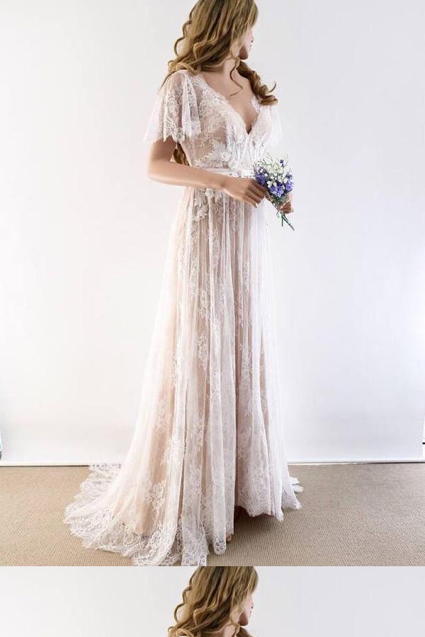 Customized Colorful V-Neck Wedding Dresses, A-Line Wedding Dresses, Wedding Dres…