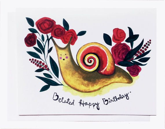 Belated Birthday-Snail Card by PaperBoatCo on Etsy