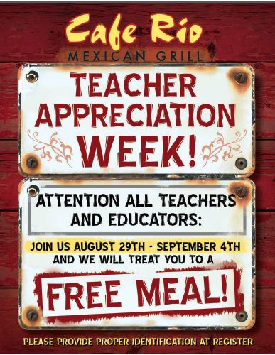 Cafe Rio: Teachers Get FREE Meals! - Raining Hot Coupons