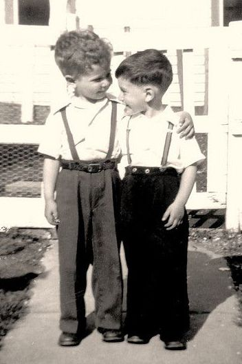 +~+~ Vintage Photograph ~+~+  What a couple of cutie boys in their best clothes - love their little suspenders! 1953
